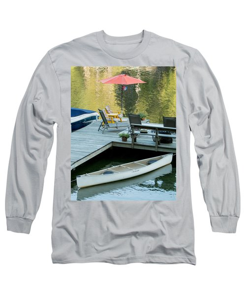 Long Sleeve T-Shirt featuring the photograph Lake-side Dock by E Faithe Lester