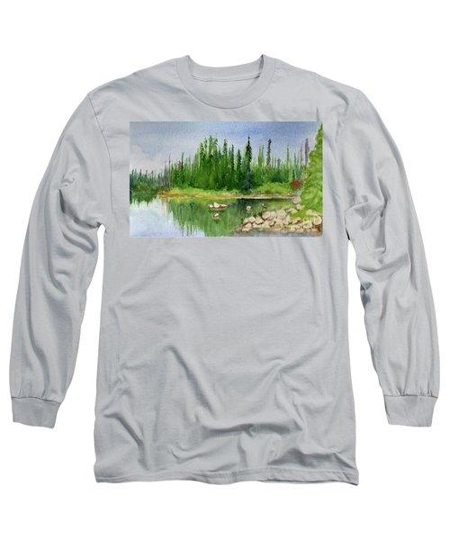 Long Sleeve T-Shirt featuring the painting Lake View 1-2 by Yoshiko Mishina