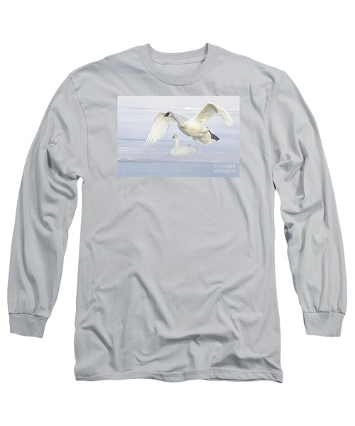 Long Sleeve T-Shirt featuring the photograph Landing In The Cold by Larry Ricker