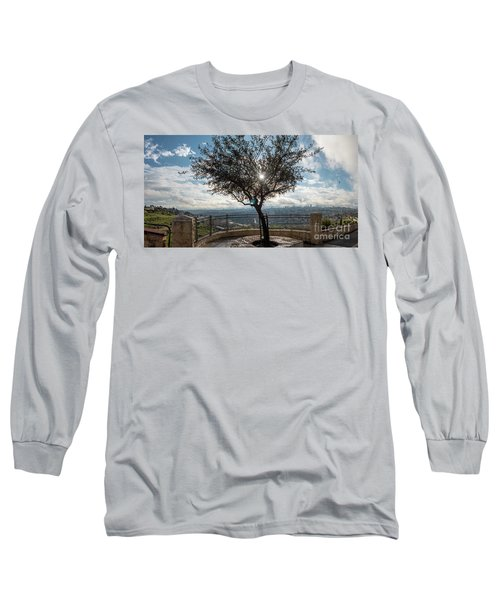 Large Tree Overlooking The City Of Jerusalem Long Sleeve T-Shirt