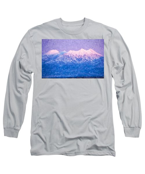 Last Light On Mount Peale From Buck Canyon Overlook Long Sleeve T-Shirt