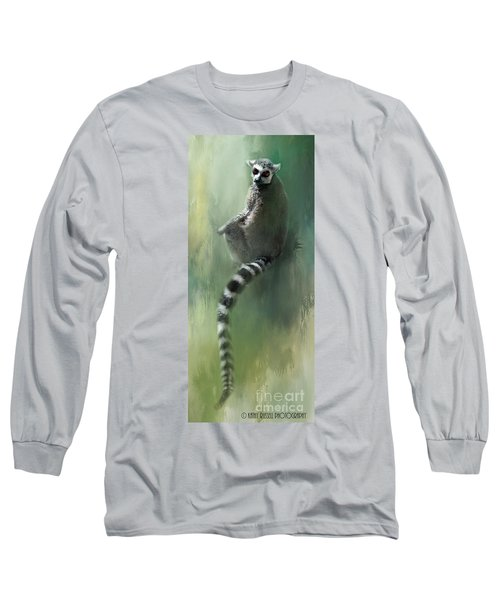 Lemur Catching Rays Long Sleeve T-Shirt by Kathy Russell