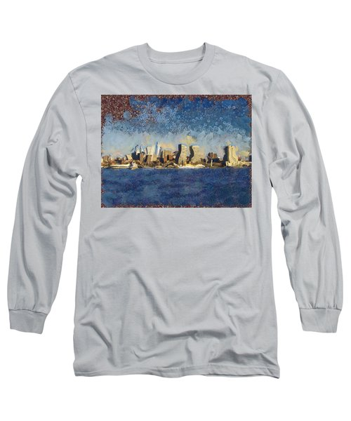 Long Sleeve T-Shirt featuring the mixed media Less Wacky Philly Skyline by Trish Tritz