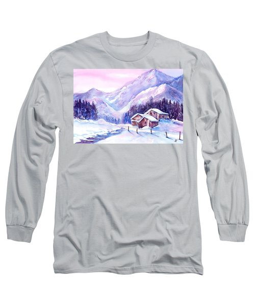 Swiss Mountain Cabins In Snow Long Sleeve T-Shirt