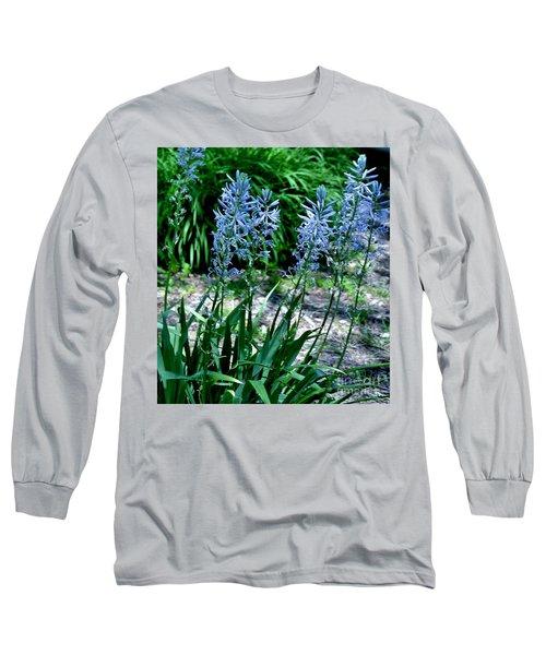 Light Blue Lace Long Sleeve T-Shirt by Marsha Heiken