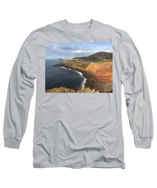 Lighthouse On The Coast Of Terceira Long Sleeve T-Shirt by Kelly Hazel