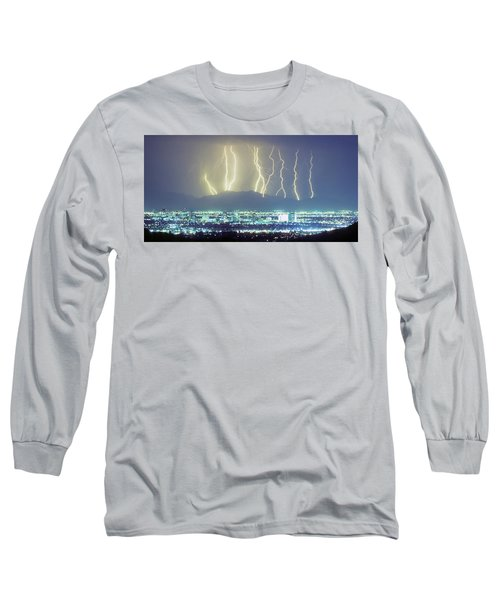 Long Sleeve T-Shirt featuring the photograph Lightning Over Phoenix Arizona Panorama by James BO Insogna