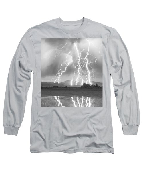 Lightning Striking Longs Peak Foothills 4cbw Long Sleeve T-Shirt