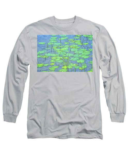 Lily Pads -coloring Book Effect Long Sleeve T-Shirt by Constantine Gregory