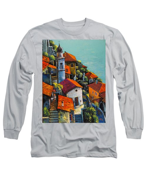Long Sleeve T-Shirt featuring the painting Limone Del Garda by Mikhail Zarovny