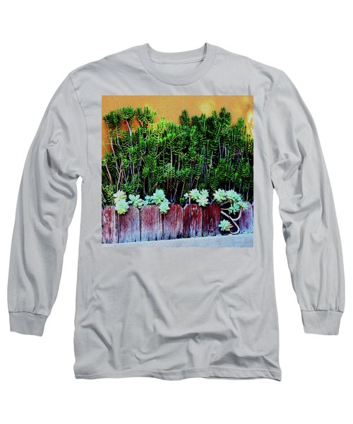 Line Of Succulents And Red Fence Long Sleeve T-Shirt
