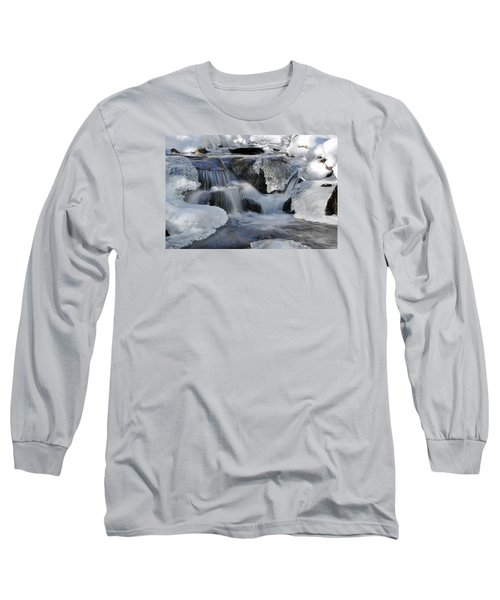 Long Sleeve T-Shirt featuring the photograph Winter Waterfall In Maine by Glenn Gordon