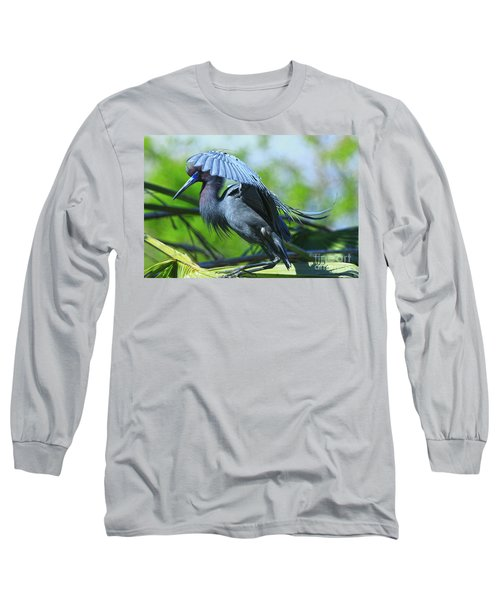 Long Sleeve T-Shirt featuring the photograph Little Blue Heron Alligator Farm by Deborah Benoit