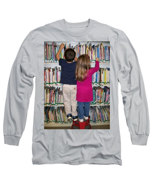 Long Sleeve T-Shirt featuring the digital art Little Bookworms by Barbara S Nickerson