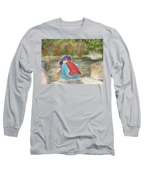 Long Sleeve T-Shirt featuring the painting Little Boy At Japanese Garden by Vicki  Housel