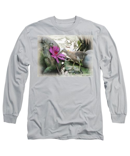 Long Sleeve T-Shirt featuring the painting Little Egret by Sergey Lukashin