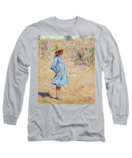 Little Girl With Blue Dress Long Sleeve T-Shirt