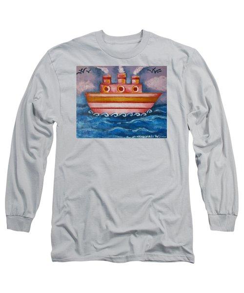 Little Pink Ship Long Sleeve T-Shirt by Rita Fetisov