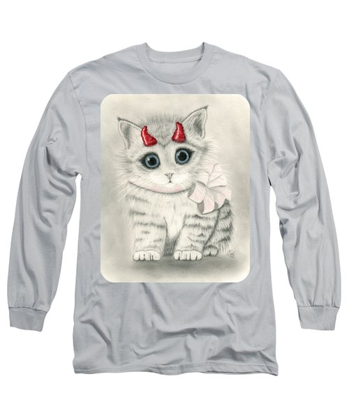 Long Sleeve T-Shirt featuring the drawing Little Red Horns - Cute Devil Kitten by Carrie Hawks
