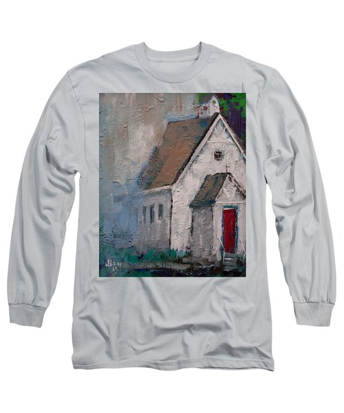 Little White Church On The Corner Christian Painting  Long Sleeve T-Shirt