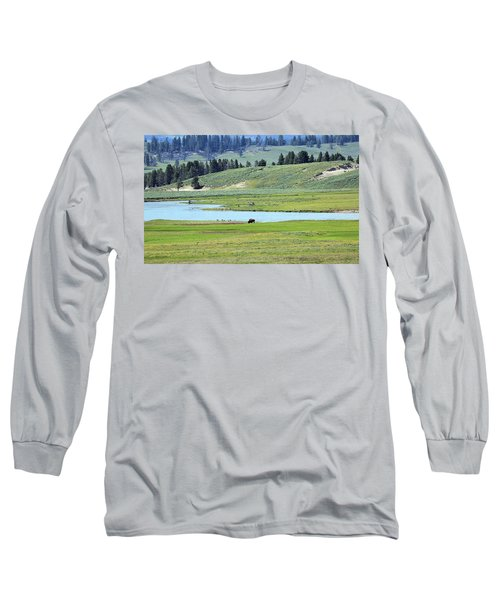Lone Bison Out On The Prairie Long Sleeve T-Shirt