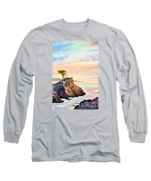 Lone Cypress Tree Pebble Beach Long Sleeve T-Shirt by Bill Holkham