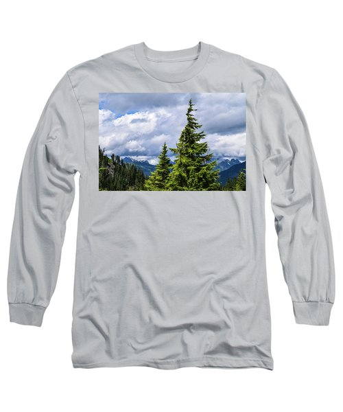 Lone Fir With Clouds Long Sleeve T-Shirt