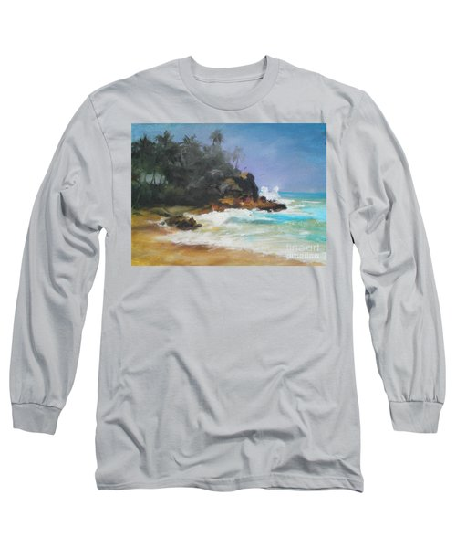 Long Sleeve T-Shirt featuring the painting Lonely Sea by Rushan Ruzaick