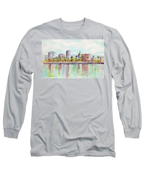 Long Beach Coastline Reflections Long Sleeve T-Shirt