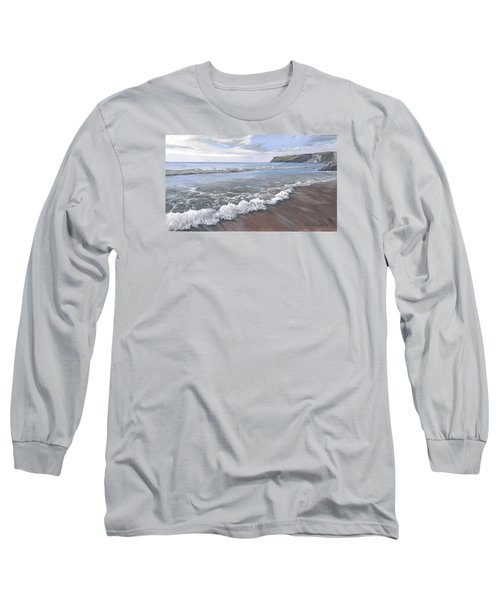 Long Sleeve T-Shirt featuring the painting Long Waves At Trebarwith by Lawrence Dyer