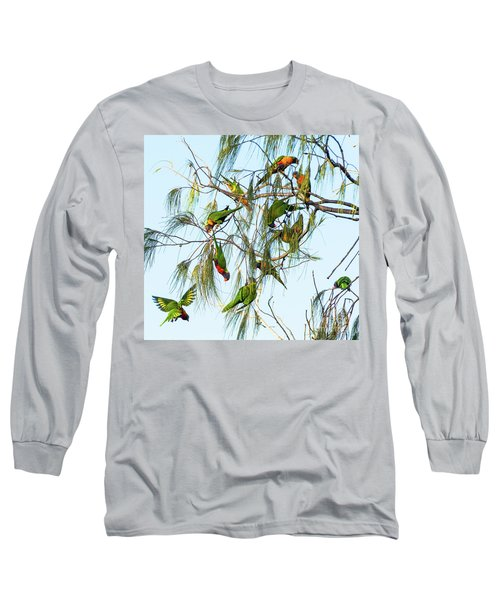 Lorikeets Swarming From Tree To Tree Long Sleeve T-Shirt