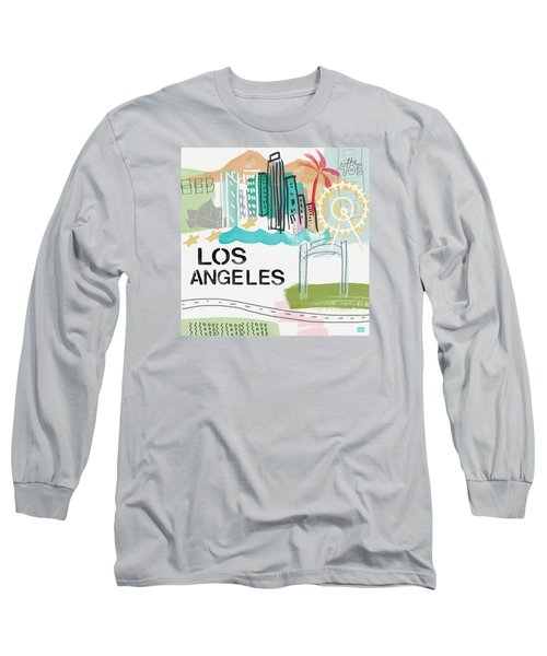 Los Angeles Cityscape- Art By Linda Woods Long Sleeve T-Shirt by Linda Woods