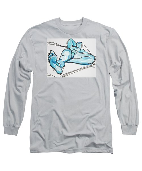 Lounging In Blue Long Sleeve T-Shirt by Shungaboy X