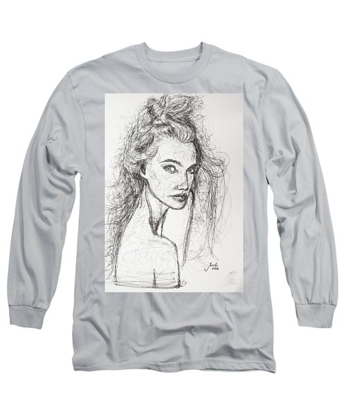 Long Sleeve T-Shirt featuring the drawing Love Is A Many-splendored Thing by Jarko Aka Lui Grande