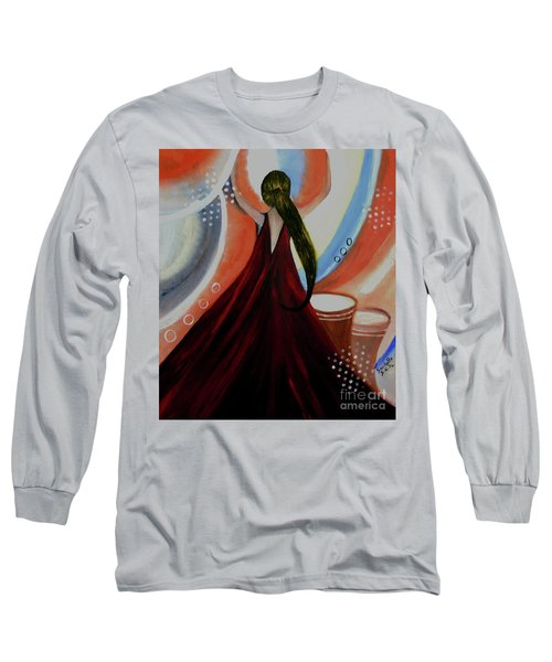 Long Sleeve T-Shirt featuring the painting Love To Dance Abstract Acrylic Painting By Saribelleinspirationalart by Saribelle Rodriguez