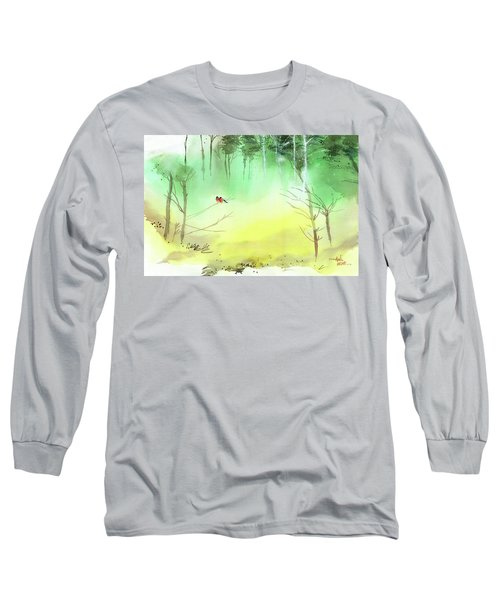 Long Sleeve T-Shirt featuring the painting Lovebirds 3 by Anil Nene