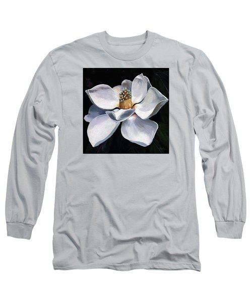 Long Sleeve T-Shirt featuring the painting Lovely In White - Painting Magnolia Flower  by Linda Apple