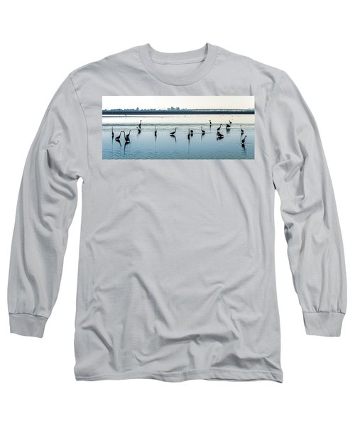 Long Sleeve T-Shirt featuring the photograph Low Tide Gathering by Steven Sparks