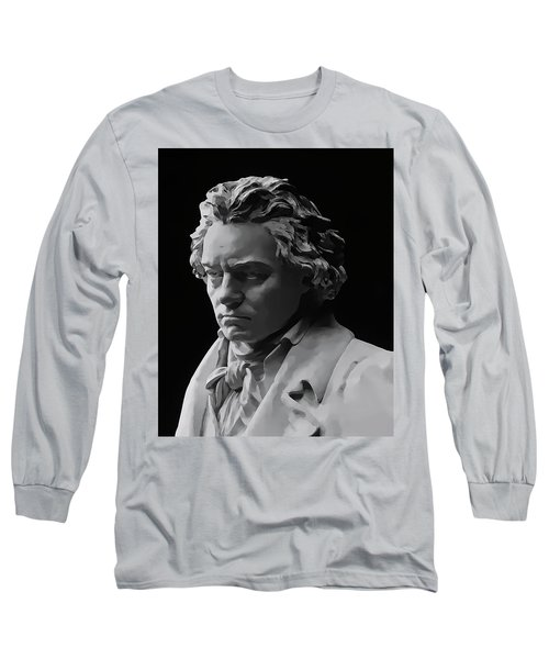Long Sleeve T-Shirt featuring the mixed media Ludwig Van Beethoven by Daniel Hagerman