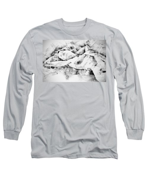 Lying Woman Figure Drawing Long Sleeve T-Shirt