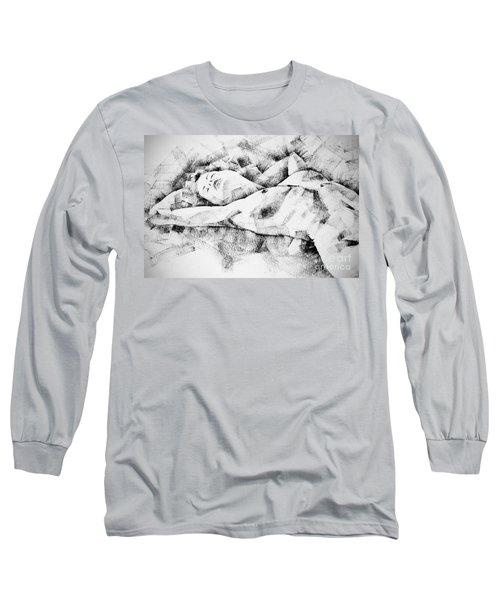 Lying Woman Figure Drawing Long Sleeve T-Shirt
