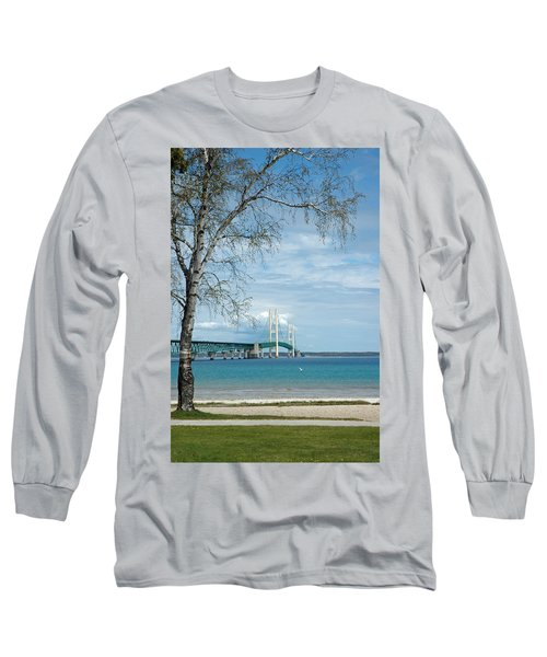 Long Sleeve T-Shirt featuring the photograph Mackinac Bridge Park by LeeAnn McLaneGoetz McLaneGoetzStudioLLCcom