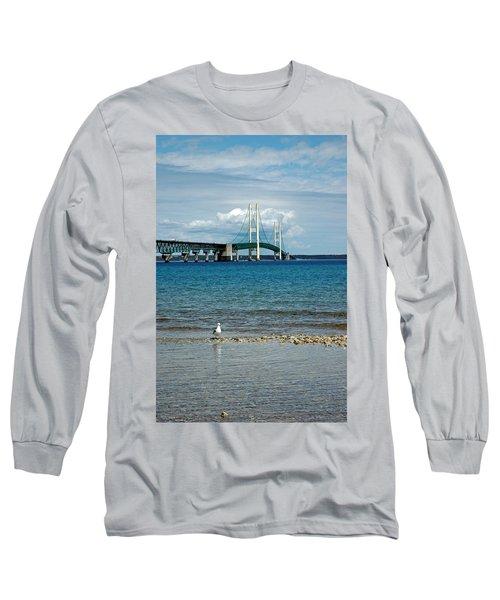 Long Sleeve T-Shirt featuring the photograph Mackinac Bridge Private Seagull Beach by LeeAnn McLaneGoetz McLaneGoetzStudioLLCcom