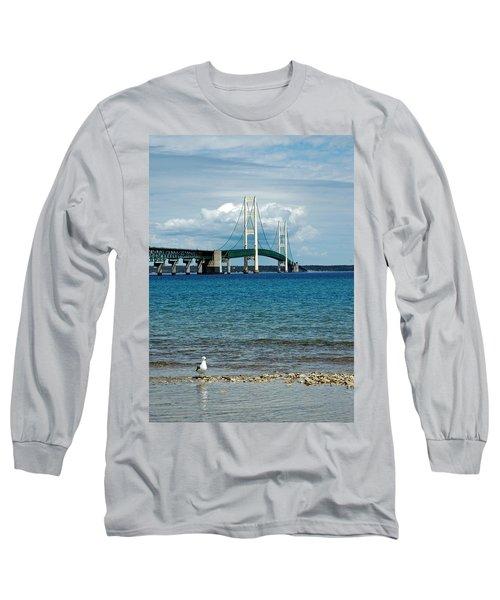 Long Sleeve T-Shirt featuring the photograph Mackinac Bridge With Seagull by LeeAnn McLaneGoetz McLaneGoetzStudioLLCcom