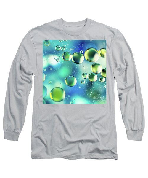 Long Sleeve T-Shirt featuring the photograph Macro Water Droplets Aquamarine Soft Green Citron And Blue by Sharon Mau