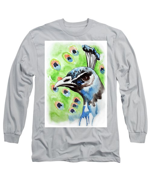 Majestic - Peacock Bird Art Long Sleeve T-Shirt