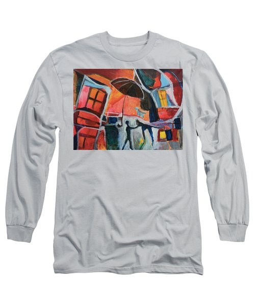 Long Sleeve T-Shirt featuring the painting Making Friends Under The Umbrella by Susan Stone