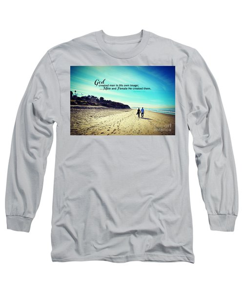 Male And Female He Created Them Long Sleeve T-Shirt by Sharon Soberon