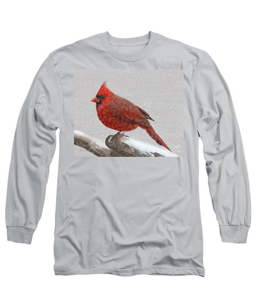 Male Cardinal In Snow Long Sleeve T-Shirt
