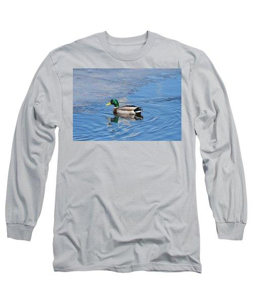 Long Sleeve T-Shirt featuring the photograph Male Mallard Duck by Michael Peychich